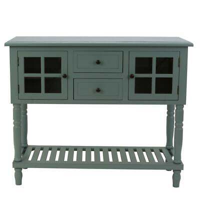 Entryway Console Table 2 Door and 2 Drawers in Antique Iced Blue Classic Cabinet