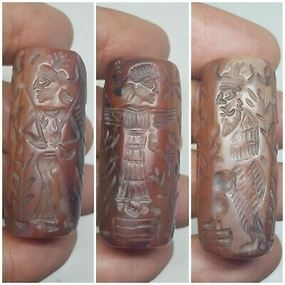 Ancient sasanian agate cylinderseal bead wonderful neareastern seal carved