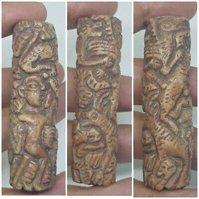 Ancient bactrian very rare stone carved zoomorphic bead  .ancient beads