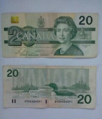 1991 - $20 Canada banknote - Canadian twenty dollar bill - Lot of 3