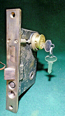 "PENN #9300 PUSH BUTTON BRASS ENTRY MORTISE LOCK w/KEYS 7 3/4"" FACEPLATE (12447)"
