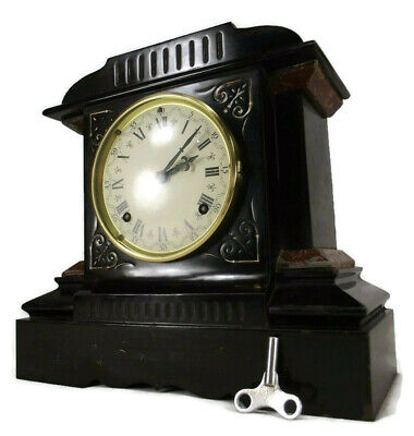 ANTIQUE CAST IRON CLOCK rare ANSONIA antique mantel alarm key pendulum WORKS