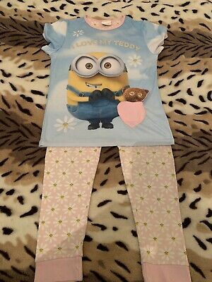 Girls Pyjama Set By George At asda Minions Girls Short Sleeve Age 9-10yrs