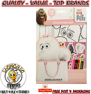 Secret Life Of Pets Colouring Activity Set and Stickers Party Bag Filler Pencils