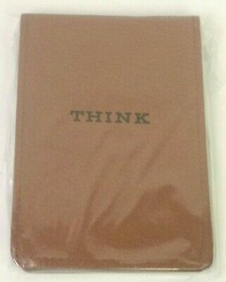 """Vintage 1970's IBM """"THINK"""" notepad memo pad leather cover with paper pad"""