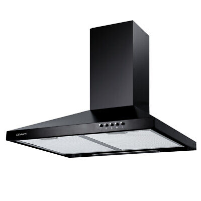 DEVANTi 600mm 60cm Rangehood Stainless Steel Range Hood Home Kitchen Canopy Blac