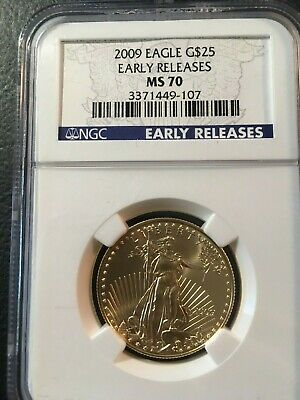One Half Ounce $25 Dollar 2009 Gold Eagle Ngc Ms 70 Early Release