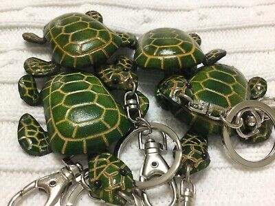 """Four Hand Made Embossed Genuine Leather Sea Turtle Key Chains/Rings(3.0""""X2.25"""")"""
