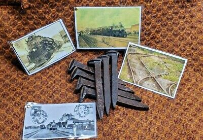 7 Old Railroad Train Track Spikes And 4 Postcard Photos Combination Set!!!!!