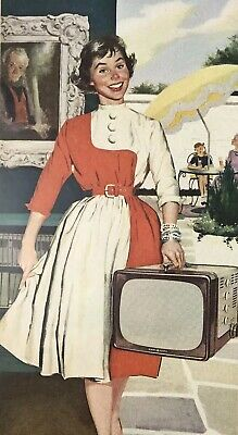 GE General Electric TV Television Magazine Print Ad Vintage 1955 Woman 2 Pages