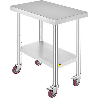 """Commercial 18""""x30""""Stainless Steel Work Prep Table With 4 Wheels Kitchen"""