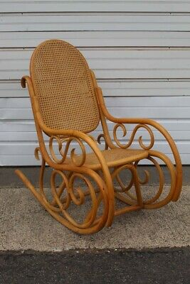 Vintage Bentwood Rocker with Cane Back Thonet Style