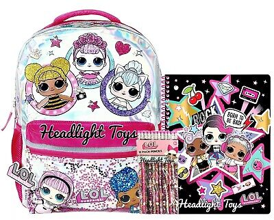 "LOL Surprise Doll 16"" Large Sparkle School Backpack Spiral Notebook 12 Pencils"