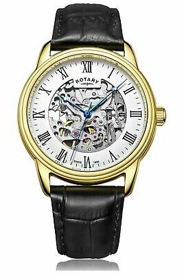 Rotary Men's Black Leather Strap Skeleton Watch.