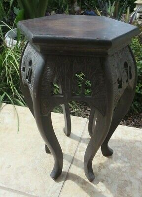 Antique Asian Carved  Wood Plant Jardiniere Pedestal
