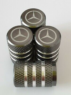4X MERCEDES BENZ LASER ENGRAVED DUST VALVE CAPS for all Models 3 Colours GRE SLK
