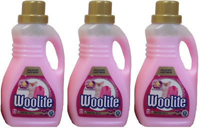 3 x Woolite Delicate Pink! Detergent Laundry Liquid With Keratin For 16 Wash 1L
