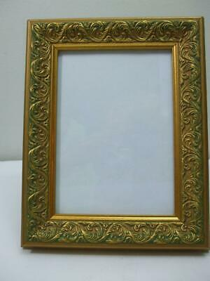 "Ornate Antiqued Gold Green Wooden Picture Photo Frame Easel Back 9.5"" x 7.5"""