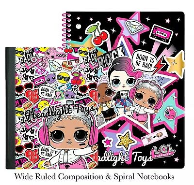 LOL Surprise Doll Wide Ruled Spiral Composition Sparkle Notebooks School Supply