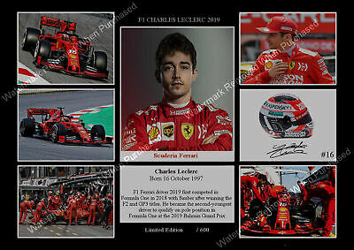 New Charles 2019 Leclerc Ferrari F1 Signed Memorabilia A4 Photo Print