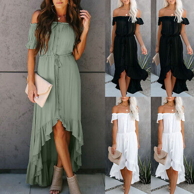 Fashion Womens Off The Shoulder Ruffle Party Dresses Irregular Beach Dress DA