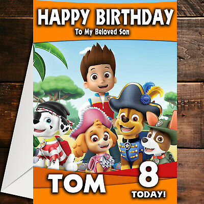 PAW PATROL D3 PERSONALISED BIRTHDAY CARD ANY NAME AGE RELATION