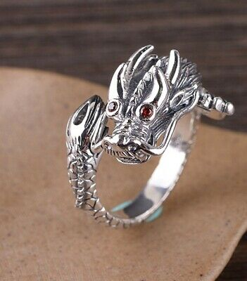 925 Sterling Silver dragon men's rings ring Jewelry Adjustable S3414