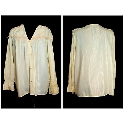 Vintage 80's Ivory Cream Sateen Button Front Bed Jacket Top by Amaretta MED/LG