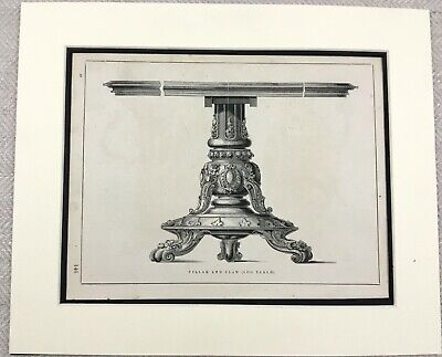 1859 Print Victorian Breakfast Table Ornate Ball and Claw Foot Original Antique