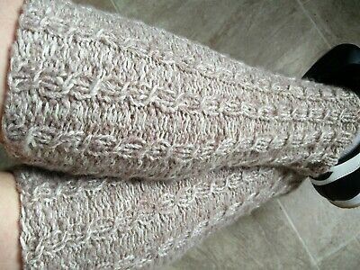 Cream Hand Knit angora blend Leg Warmers, Cable Design,  Boot Cuffs. 16 Inch.
