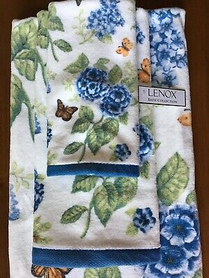 3 Lenox Butterfly Meadow Floral Blue Band Bath//Hand//Fingertip Towels Set NWT
