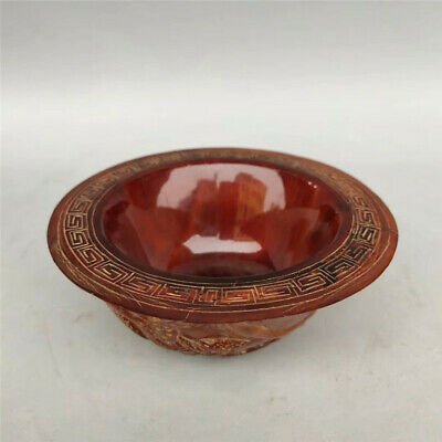 Collect old China Ox horn Hand carved pine tree squirrel Ox horn Wine bowl cup