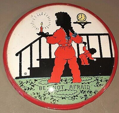 """Vintage Round Convex Bubble Glass Print """"Be Not Afraid""""-by Dickinson, Inc."""