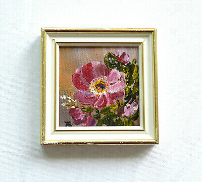 Scandinavian Pink Red Flowers Framed Finnish Original Oil Painting Signed