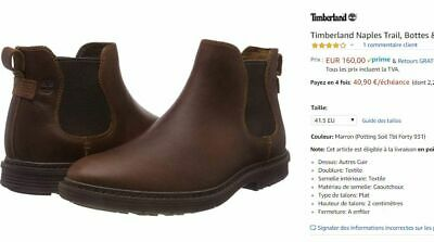CHAUSSURES CUIR TIMBERLAND Naples Trail Bottes Homme Taille 41.5 42 NEUF
