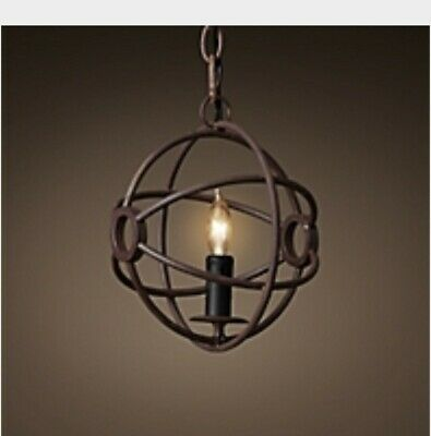 "restoration hardware orb chandelier rustic iron 9"" new in box w extension chain"