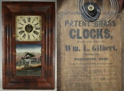 antique WM L GILBERT OGEE CLOCK OG Shelf Mantel walnut REVERSE PAINTED Italy