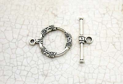 Lot Silver Round Toggle Antiqued Necklace Bracelet Clasps Jump Ring Connector