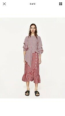 8dffdf798a Zara Woman red/white gingham checked midi skirt ruffle XS Bloggers Favourite