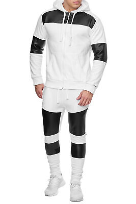 Men's Tracksuit White Trackies Faux Leather Patches Sweatpants Hoodie