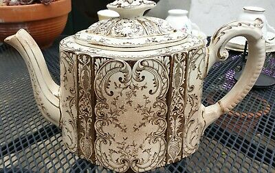 FABULOUS Albion pottery Ceramic Tea Pot Louie c1900 Gold and Cream