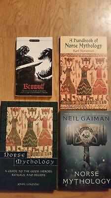 4 Book Asatru Heathenry Odinism Norse Mythology John Lindow Neil Gaiman Beowulf