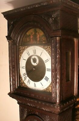 "Antique Carved Oak  Adam & Eve   "" Brighton ""  Longcase / Grandfather  Clock"