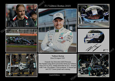 New Veltteri Bottas 2019 Signed F1 Mercedes Petronas Memorabilia A4 Photo Print