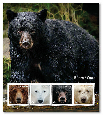 2019 Canada Bears Pane Of 4 Stamps Grizzly Polar Kermode Black Bear Animals
