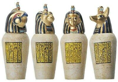 Egyptian Canopic Jars Figurine - Set Of 4 - Moveable Lids - New