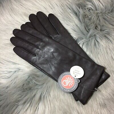 NWT Fownes Brothers 100% Cashmere Brown Leather Gloves Sz 7.5