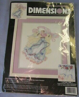 "Dimensions Ribbon Embroidery Kit, SPRINGTIME ANGEL, 13"" X 15"" #1502"