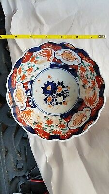 Antique Japanese Porcelain Hand Painted and Enameled Imari Serving Bowl - 19th C