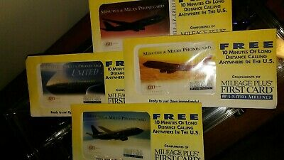 United Airlines Collectors Complete Set of 4 Prepaid Phone Cards